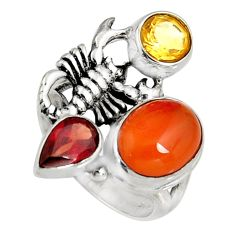 6.63cts natural orange cornelian 925 silver scorpion charm ring size 6 r10863