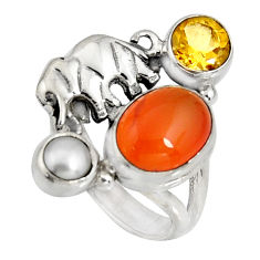 925 silver 7.07cts natural orange cornelian pearl elephant ring size 7.5 r10864