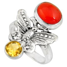 5.10cts natural orange cornelian (carnelian) silver butterfly ring size 8 r10865