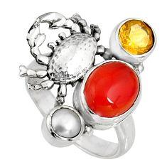 6.80cts natural orange cornelian (carnelian) silver crab ring size 7.5 r10866