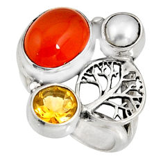 925 silver 6.58cts natural orange cornelian tree of life ring size 6 r10867