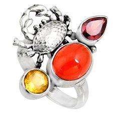 6.20cts natural orange cornelian (carnelian) 925 silver crab ring size 8 r10868