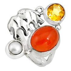 6.83cts natural cornelian (carnelian) 925 silver elephant ring size 6 r10869
