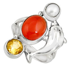 5.81cts natural orange cornelian (carnelian) silver dolphin ring size 7 r10870