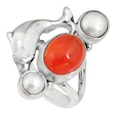 5.98cts natural orange cornelian (carnelian) silver dolphin ring size 8 r10871