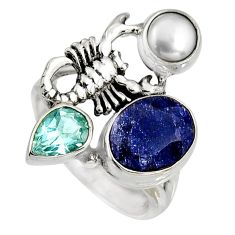 7.13cts natural blue sapphire 925 silver scorpion charm ring size 7.5 r10877