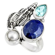 925 sterling silver 7.36cts natural blue sapphire topaz pearl ring size 9 r10880