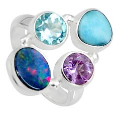 925 silver 5.79cts natural blue doublet opal australian ring size 6.5 r10904