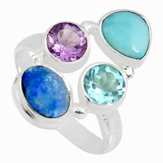 6.26cts natural blue doublet opal australian 925 silver ring size 8.5 r10905