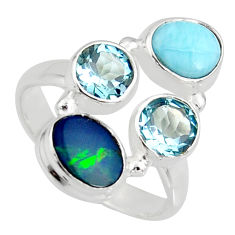 6.26cts natural blue doublet opal australian 925 silver ring size 8.5 r10908
