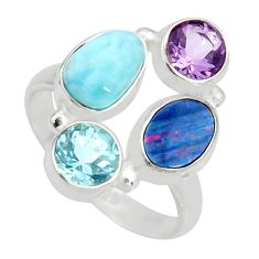 6.18cts natural blue doublet opal australian 925 silver ring size 8.5 r10909