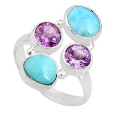 6.03cts natural blue larimar amethyst 925 sterling silver ring size 8 r10911