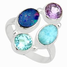 6.03cts natural blue doublet opal australian topaz 925 silver ring size 8 r10913