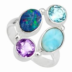 925 silver 6.20cts natural blue doublet opal australian topaz ring size 8 r10914