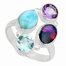 925 silver 6.25cts natural blue doublet opal australian topaz ring size 8 r10915