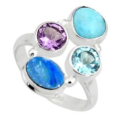 925 silver 6.10cts natural blue doublet opal australian topaz ring size 8 r10917