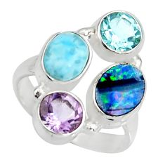 5.82cts natural blue doublet opal australian 925 silver ring size 6.5 r10919