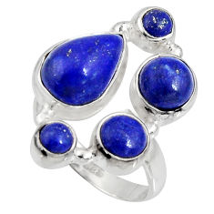 8.03cts natural blue lapis lazuli 925 sterling silver ring jewelry size 7 r10925