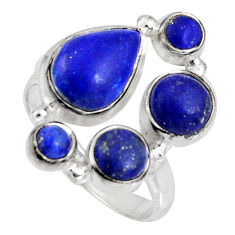 8.17cts natural blue lapis lazuli 925 sterling silver ring jewelry size 9 r10931