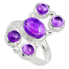 6.39cts natural purple amethyst 925 sterling silver ring jewelry size 8.5 r10945