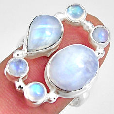 8.42cts natural rainbow moonstone 925 sterling silver ring jewelry size 8 r10961