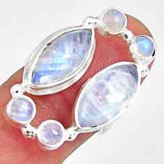 925 sterling silver 14.88cts natural rainbow moonstone ring size 6.5 r10964