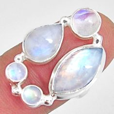11.02cts natural rainbow moonstone 925 sterling silver ring size 7 r10967