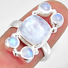 7.83cts natural rainbow moonstone 925 sterling silver ring size 7.5 r10969