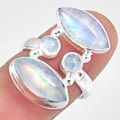 14.23cts natural rainbow moonstone 925 sterling silver ring size 7 r10970