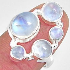 7.07cts natural rainbow moonstone 925 sterling silver ring jewelry size 7 r10973