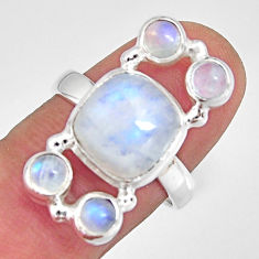 925 sterling silver 7.84cts natural rainbow moonstone ring size 7.5 r10974