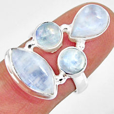 12.04cts natural rainbow moonstone 925 sterling silver ring size 7 r10977