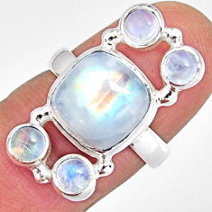925 sterling silver 7.83cts natural rainbow moonstone ring jewelry size 7 r10980