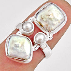 11.02cts natural white pearl 925 sterling silver ring jewelry size 6.5 r10982