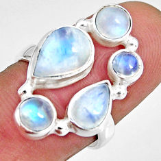 925 sterling silver 7.63cts natural rainbow moonstone pear ring size 7 r10987