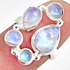 7.83cts natural rainbow moonstone 925 sterling silver ring size 6.5 r10988