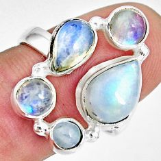 8.14cts natural rainbow moonstone 925 sterling silver ring jewelry size 8 r10990
