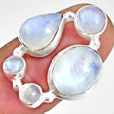 925 sterling silver 8.93cts natural rainbow moonstone pear ring size 6.5 r10992