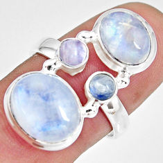 925 sterling silver 8.42cts natural rainbow moonstone oval ring size 8 r10993