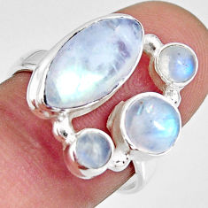 8.22cts natural rainbow moonstone 925 sterling silver ring size 7.5 r10994