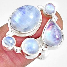 925 sterling silver 12.37cts natural rainbow moonstone oval ring size 8 r10996