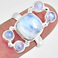 7.78cts natural rainbow moonstone 925 sterling silver ring size 7.5 r10998