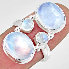 925 sterling silver 11.23cts natural rainbow moonstone oval ring size 7.5 r10999