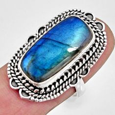 11.54cts natural blue labradorite 925 silver solitaire ring size 7 r11386