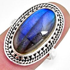 925 silver 8.83cts natural blue labradorite oval solitaire ring size 8 r11396