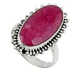 9.47cts natural red ruby 925 sterling silver solitaire ring size 7 r11405