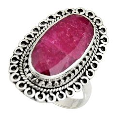 9.93cts natural red ruby 925 sterling silver solitaire ring size 8 r11408