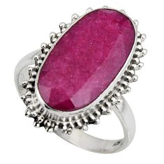 9.86cts natural red ruby 925 sterling silver solitaire ring size 9 r11410