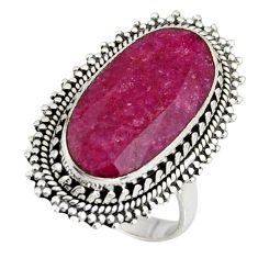 10.33cts natural red ruby 925 sterling silver solitaire ring size 7.5 r11414