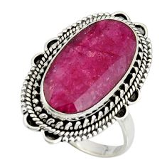925 sterling silver 9.72cts natural red ruby oval solitaire ring size 8 r11416